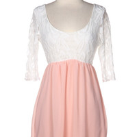 Lace 3/4 Sleeve Dress - Light Pink