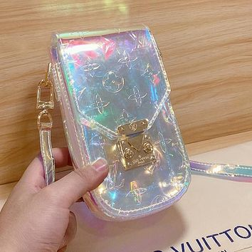 Louis Vuitton LV New product transparent jelly embossed letters diagonal cross bag ladies mini mobile phone bag