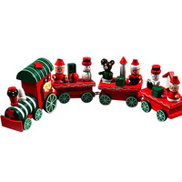 1PC 2016 Hot New Lovely Charming 4 Piece little train Wood Christmas Train Ornament Decoration Decor Gift 15UY