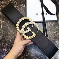 GUCCI Classic Fashion Women Men Wide Leather Belt With Double G Pearl Buckle 7 CM