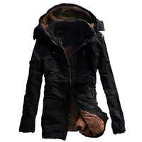 Winter Jacket Men Casual Thick velvet Warm Jackets Parkas hombre Mens cotton Windbreaker army Hooded jacket long trench coat