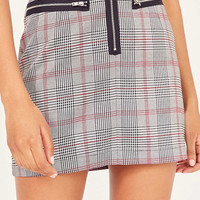 Cooperative Plaid Menswear Zipper Mini Skirt | Urban Outfitters