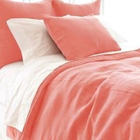Stone Washed Linen Coral Duvet Cover