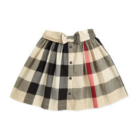 Check Button-Front Skirt, Beige, 4Y-10Y