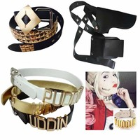 Adjustable Suicide Squad Harley Quinn Accessories Puddin Necklace Collar Gun Holster Bag Belt Harley Quinn Costume Cosplay