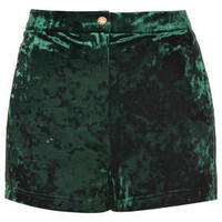 GREEN CRUSHED VELVET SHORTS