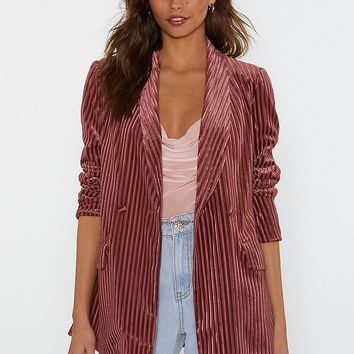 Say It Stripe Velvet Striped Blazer