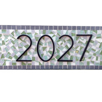 Green and Gray Address Plaque, Outdoor Mosaic House Number Sign
