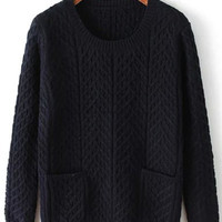 Navy Double Pocket Cable-Knit Sweater