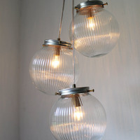 Sparkling Cluster Chandelier Lighting Fixture - 3 Round Ribbed Glass Holophane Globes  - Industrial UpCycled Swag Pendant BootsNGus Design