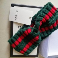 GUCCI Trending Unisex Red Green Stripe Pure Wool Knit Knitted Headwrap Headband Warm Head Hair Band