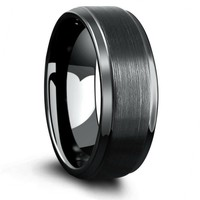 Mens Brushed Center Tungsten Wedding Band