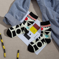 Kha Zix Brand 2 Pairs Cute Couple Socks Warm Thickening 3d Ladies Boys Socks Cotton Sock with Gift Boxes