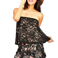 Lace Topping Tube Top