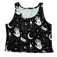 Summer Cropped Tank Tops Black Color Moon Star Candle Printed Gothic Girls Tanks Vest Summer Casual Women Crop Tops Tank