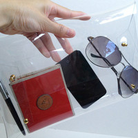 Gold color accessory of BigTransparent Clear Clutch, Transparent Clear Purse, Transparent Clear Bag,Clutch