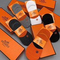HERMES Fashion Casual Sport 100% Cotton Socks A box of 5 pairs