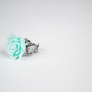 Beautiful Large Aqua Flower - Adjustable Ring