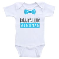 """Baby Boy One-Piece Shirts """"Daddy's Little Wingman"""" Baby Boy Onesuits"""