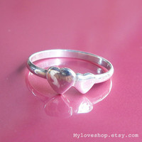 Twin heart silver ring MADE TO ORDER - 92.5 Sterling Silver Ring - size 8