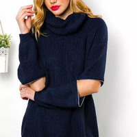 Black Cutout-Sleeve Turtle Neck Knitted Sweater