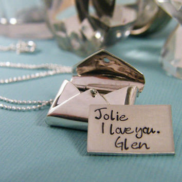 love letter necklace sterling silver personalized necklace new baby graduation promotion valentines day
