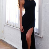 Black Open Back Maxi Dress with Slit