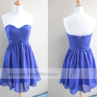 Custom Made Sweetheart Ruching Bodice Royal Blue Bridesmaid Dress/ Cocktail Dress/ Wedding Party Dress/ Short Prom Dress/ Homecoming Dress