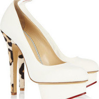 Charlotte Olympia|Love Dolly twill and calf hair pumps|NET-A-PORTER.COM