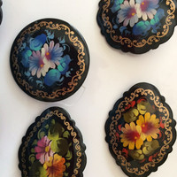 Decorative Pin traditional russian art design made curved painted by hand great souvenir holiday birthday gift colorful patterns