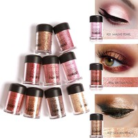 Focallure 12 Colors Glitter Eye Shadow Powder Diamond Shimmer Eye Makeup Pigment Lip Highlighter Powder with Sequin