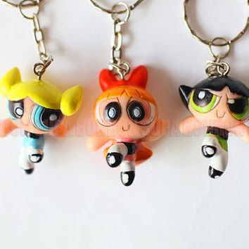 One Set incl. 3 pcs / Decoden / PVC / Cool / The Powerpuff Girls / Charms / Without Keychain / 4CM Height / EU160-B