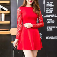 Spring Women Long Sleeve Dresses Hollow Out Lace Sleeve Dress Lady Temperament Slim Dress Formal Evening Party Dress