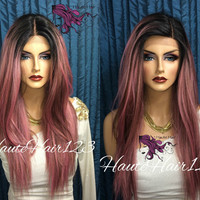Pink Ombre Multi Tone Human Hair Blend Lace Front Straight Wig