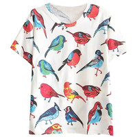 Bird Print Short Sleeve T-Shirt