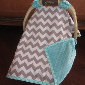 Super Cute Baby Car Seat Covers - CHEVRON in Gray / White with Teal Minky