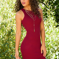 Millie Ribbed Dress - Burgundy