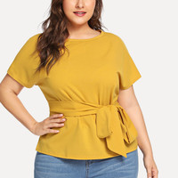 Plus Tie Waist Solid Top