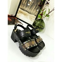 LV Louis Vuitton OFFICE QUALITY Women's Leather High-heeled Sandals Shoes