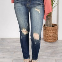 Acid Wash Dark Skinny Fit Denim