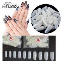 Bittb 500pcs Nail Art French Acrylic Artificial Fake Nail Full Cover Oval Natural False Nail Manicure Tool Finger Tips For Salon