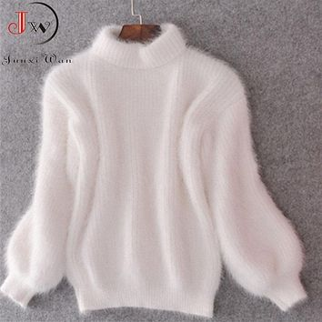 White Mohair Thicken Turtleneck Sweater Autumn Winter Sweet Fashion Lantern Sleeve Casual Solid Color Pullover pull femme