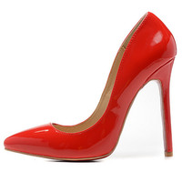 Glossy Red Bottom Pointed Toe Heels - Red