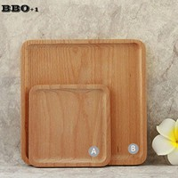 1pcs Square Wood Dish Tray Party Serving Plate Japanese Sushi  Snack Wooden Trays Pizza Bread Dessert Fruit Platter Dinner Plate