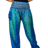 Boho Harem Yoga Pants - Peacock Light Blue