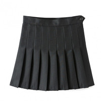 Sexy Women High Waist A-Line Pleated Skirt Tennis Solid Mini Skirt