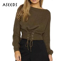 Christmas sweater Lace up knitted long sleeve korea sweater Women pullovers tops warm jumper Autumn winter pull femme