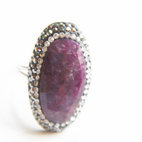 NEW- Raw Amethyst - BohoQueen Ring