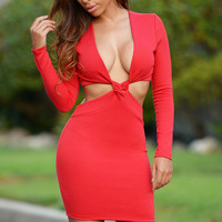 Red Cut Out Twisted Front Long Sleeve Bodycon Mini Dress