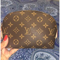 Inseva Louis Vuitton LV New Fashion Monogram Print ZipperToiletry Cosmetic Bag Handbag Women Purse Wallet